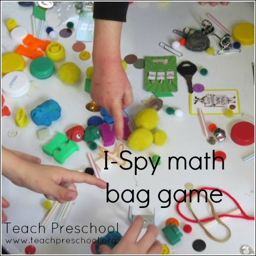 I-Spy math bag game by Teach Preschool --- I LOVE I-Spy!    http://www.teachpreschool.org/2014/01/i-spy-math-bag-game/