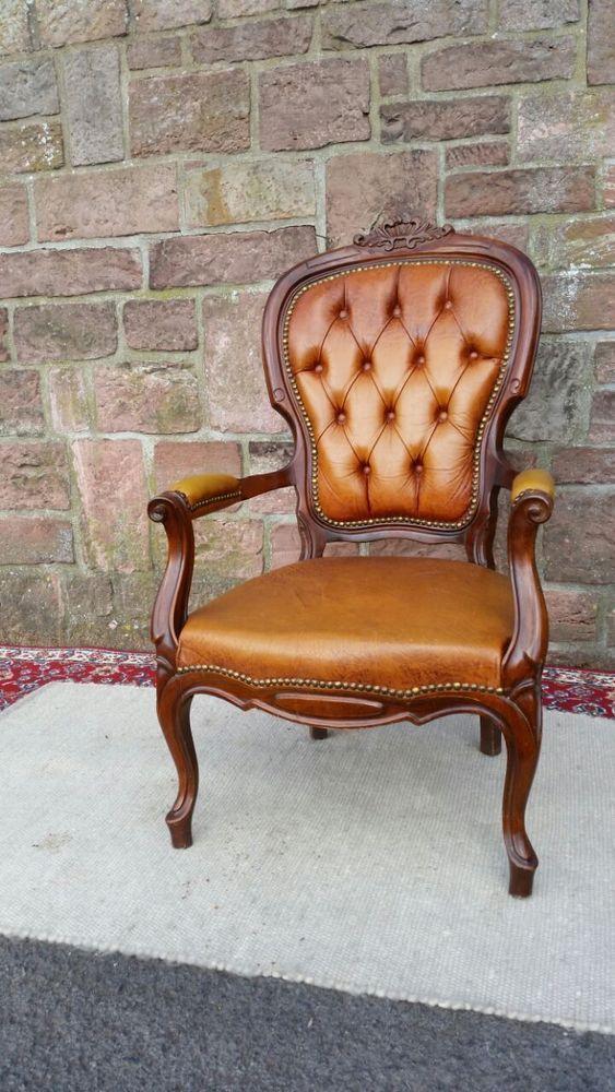 !LAGERRÄUMUMG! Stuhl Sessel antik Echtleder genagelt Barock Nussbaum massiv VW