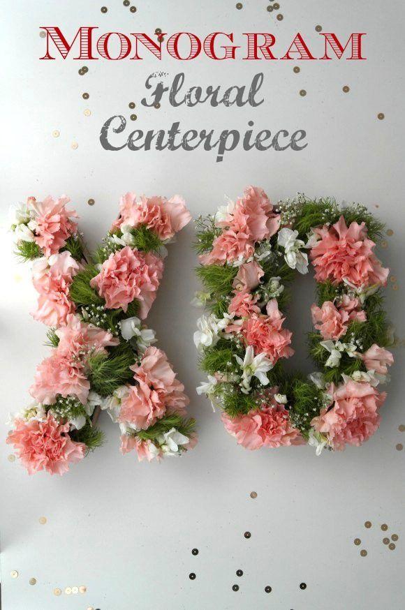 Monogram Floral Centerpiece | CatchMyParty.com