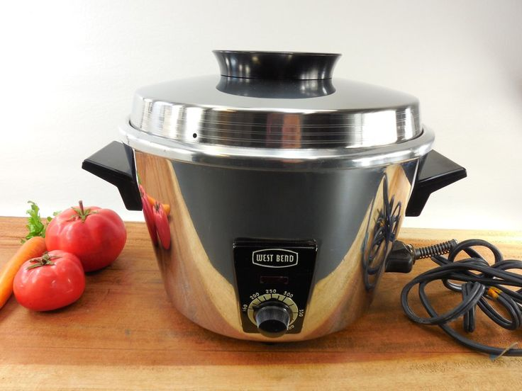 West Bend Electric Fryer Roaster Server - 8 in 1 Chrome Appliance with Manual - Vintage 1950s Mid Century