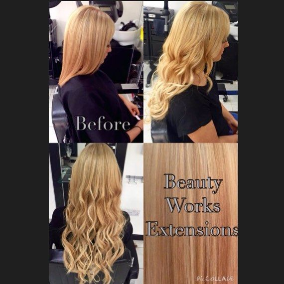 Before & after full head of Beauty Works hair extensions by Steph  #beautyworks #hairextensions #simonconstantinou #shorttolong #cardiffsalon #blondehair #transformation