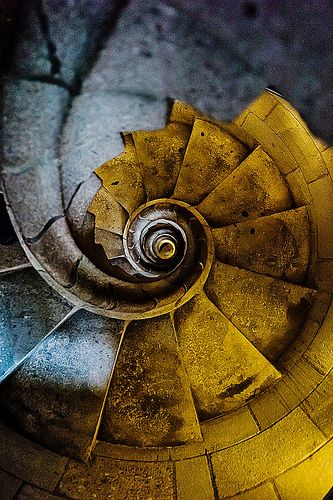 Sagrada Familia: the inner stairs of one of the towers. Barcelona Catalonia
