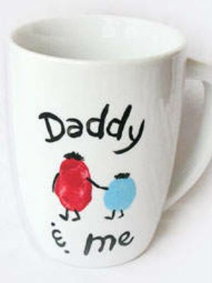 Buy plain mugs from Baker Ross and create these personalised mugs! http://www.bakerross.co.uk/large-white-porcelain-mugs