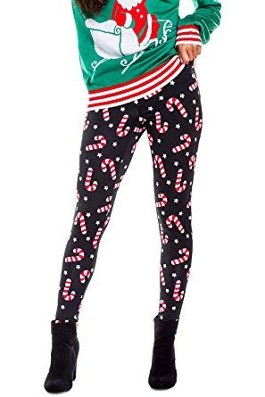 Tipsy Elves Women s Christmas Candy Cane Leggings  XL  ee9aab02b