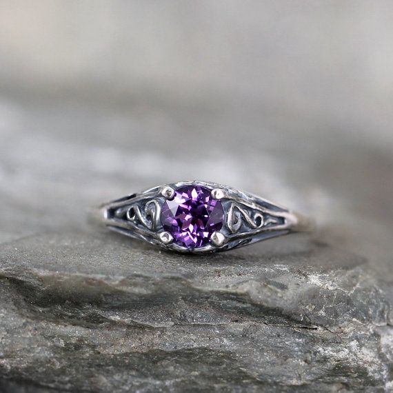 Amethyst Ring - February Birthstone Ring - Antique Style Amethyst Ring - Dark Sterling Silver - Amethyst Gemstone Rings - Filigree Ring