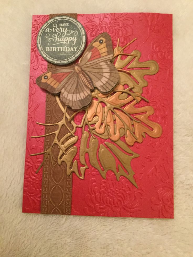 Anna Griffin inspired fall birthday card made using summer and fall embossing folder and leaf dies plus a chalkboard sentiment stamp.
