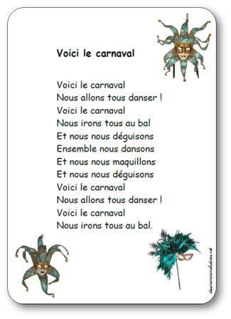 Comptine Voici le carnaval