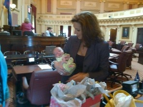 "How cool is this? Bring your #baby to #work! ""Va. Senator-mom Jill Vogel in session with newborn"""