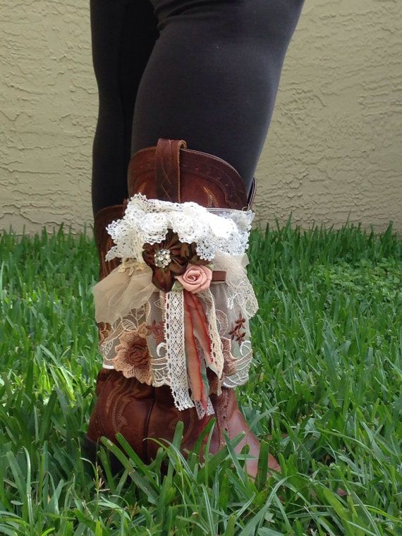 Hill Billie bootlet, lace and ribbon flowers, lace boot cuff, rustic boot cuff, women's boot cuff, childrens boot cuff, boho vintage wedding on Etsy, $45.00
