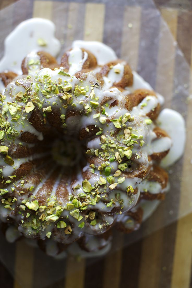 pistachio yogurt cake with rosewater glaze.