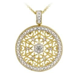 @Overstock - This beautiful medallion pendant features a filigree design with a single genuine diamond amidst a frame of pave pattern giving the impression of sparkling diamonds. This necklace is crafted of 18-karat yellow gold over sterling silver.http://www.overstock.com/Jewelry-Watches/DB-Designs-18k-Gold-over-Silver-Diamond-Accent-Filigree-Medallion-Necklace/5810328/product.html?CID=214117 $29.99