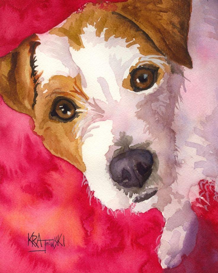 Jack Russell Terrier Lámina firmada por el artista Ron Krajewski Pintura 8×10 Perro …