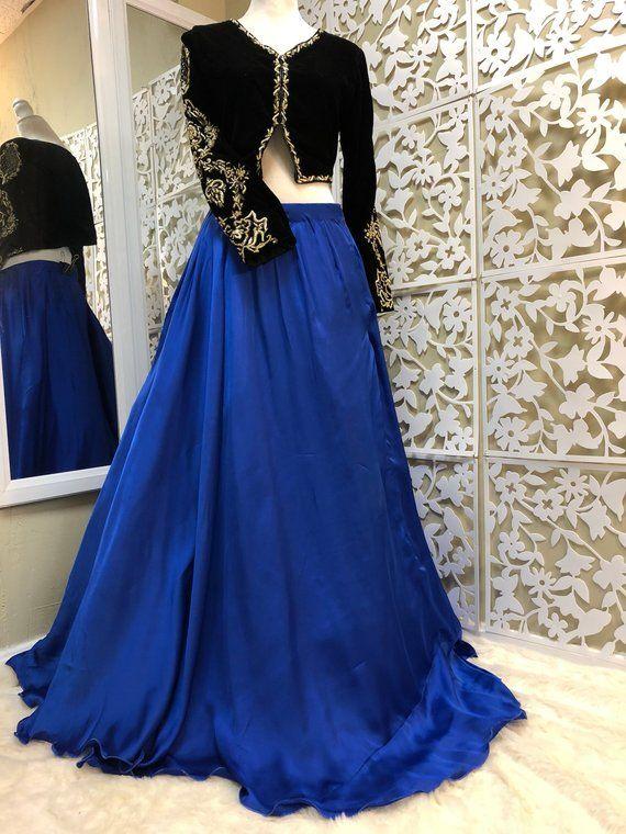 bd9137132d Black Cropped Jacket- Embroidered Velvet Jacket with Blue Silk Skirt ...