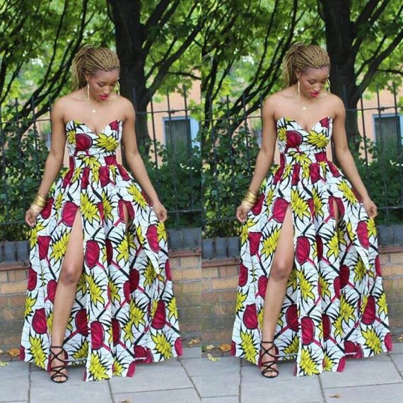 African Summer Maxi Dress by Africandressshop on Etsy