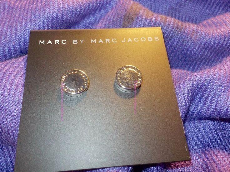 Marc by Marc Jacobs Silver Tone Logo Disc Stud Earrings  80083   SALE #MarcbyMarcJacobs #Stud