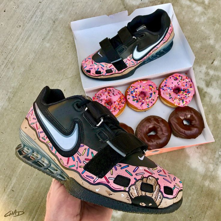 Custom pink sprinkled donut Hand painted Nike Romaleos olympic weightlifting crossfit shoes by ArtOfTheSole on Etsy https://www.etsy.com/listing/492092404/custom-pink-sprinkled-donut-hand-painted