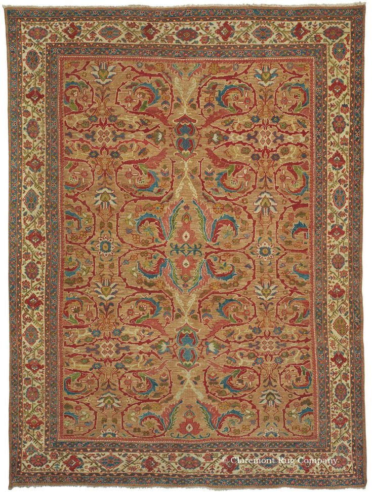 SULTANABAD CAMELHAIR , West Central Persian, 9ft 0in x 11ft 11in, Late 19th Century. In an extraordinary stroke of luck, our buyers uncovered this remarkable carpet from a very discerning collector of area size Persian rugs. In over 3 decades of business we have never seen a camelhair carpet from Sultanabad!