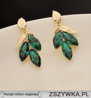 Kolczyki złote z zielonymi kamieniami - kliknij w obrazek :) 8,99 :)