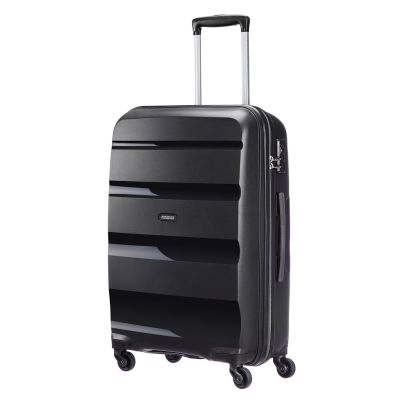 American Tourister 66cm Bon Air Spinner in black. Take on the world with this super strong case.  www.zelows.com.au