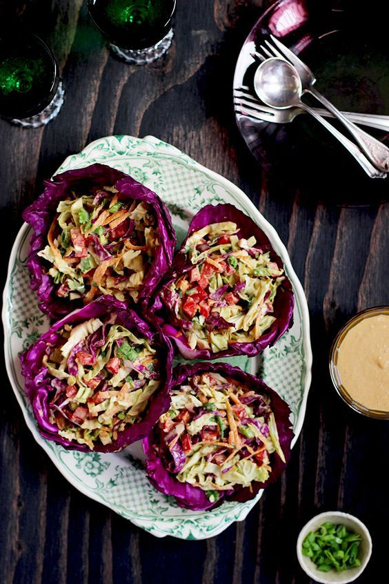 Asian Peanut Slaw // love the red cabbage bowls