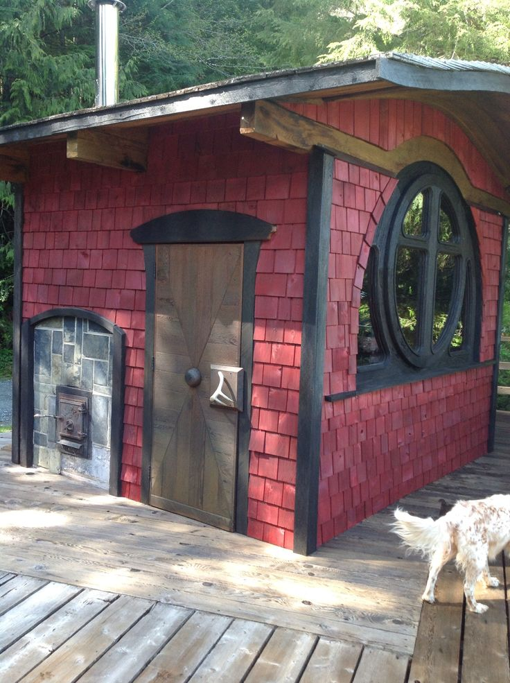 Outdoor sauna window..
