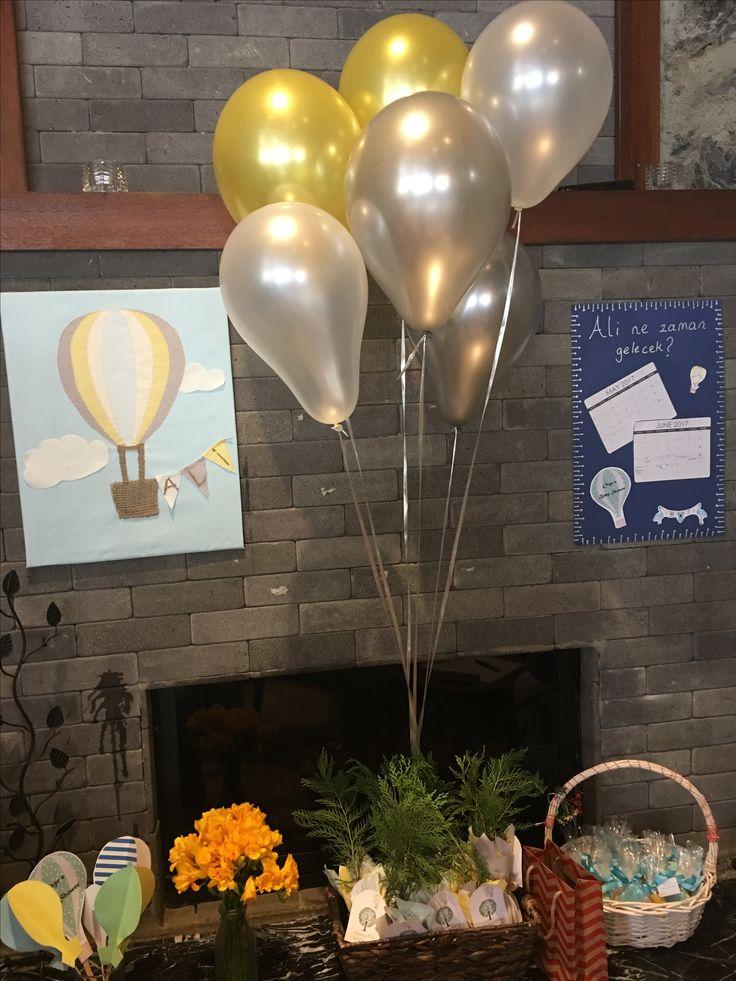 Balon temalı baby shower duvar panosu