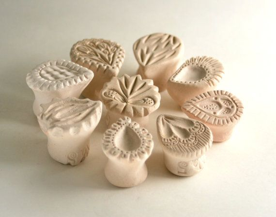 """Texture Stamp Set -- 3, 4, or 5 Random Teardrop Shaped Tools for Pottery Ceramics Polymer Clay -- """"A Drop in the Ocean"""" on Etsy, $21.00"""