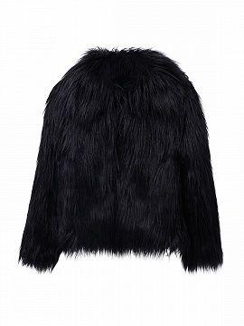 Black Vintage Style Faux Fur Coat