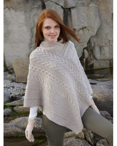 Aran Style Cape SH4272 Great gift! Easy fitting. 100% merino wool.