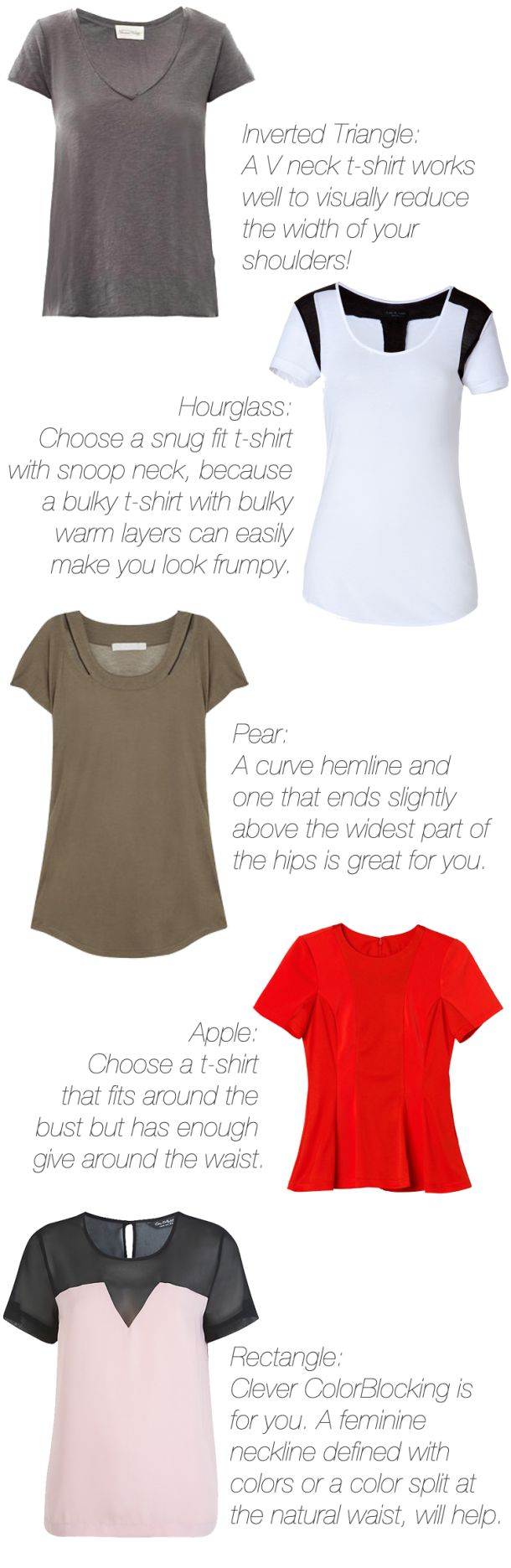 which t-shirt / tee suits your body type? V neck, crew neck etc for inverted triangle, par body shape, hourglass, rectangle ( sporty ruler) and apple