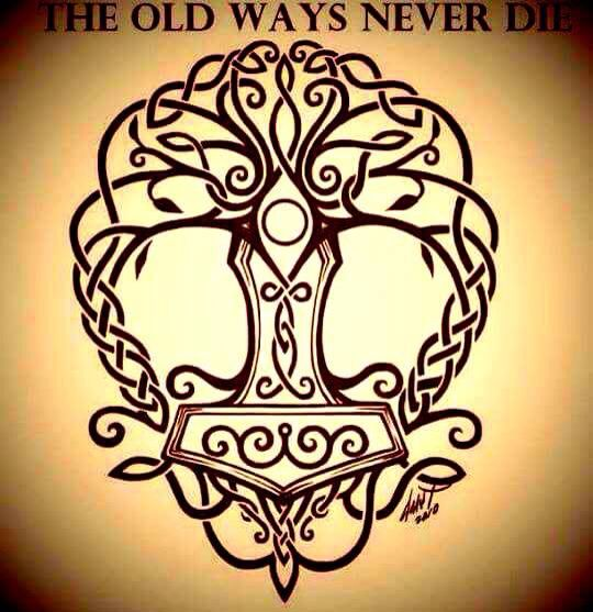 I absolutely love this Tree of Life with Thor's Hammer as the trunk. Yggdrasil and Mjolnir. Nordic inspiration.