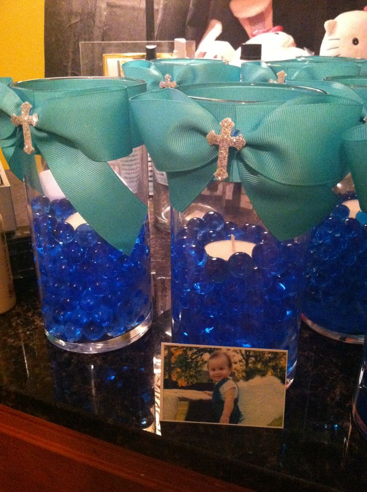 These centerpieces were for a baptism could be easily made for a wedding or any other occasion simple and less the 5$ each to make!