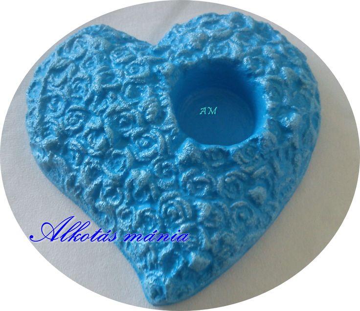 #kék##rózsás##gyertyatartó##festés##szív##dísz##ajándék##szerelem##mécsestartó##alkotásmánia#