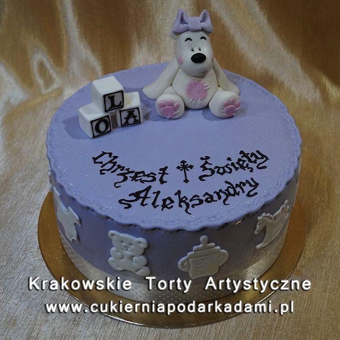 049. Tort z białym misiem na chrzest. Cake with white teddy bear for baptism.