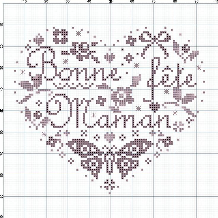 """Broderie """"Bonne Fête Mama"""" par Marilyn - IdéeCréation"""