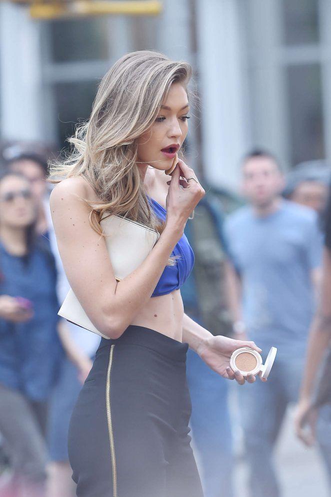 Gigi Hadid doing her makeup on Maybelline shoot in New York.