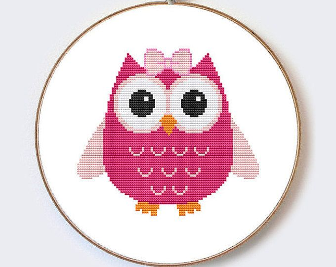 Buy 2 Get 1 Free Pink Owl With Bow modern cross stitch pattern - perfect for beginners - PDF format - instant download