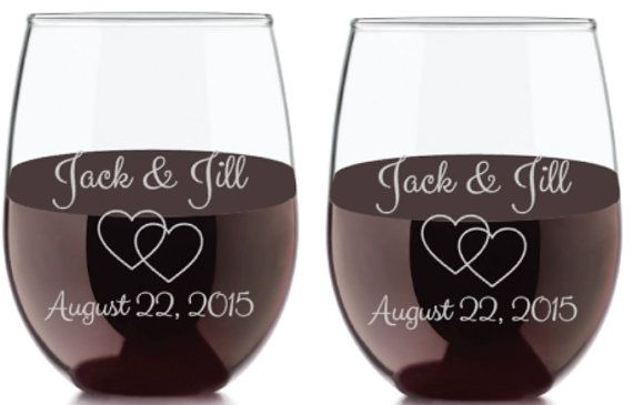 Wedding Wine Glasses Etched Wedding Wine by HautePinkCreations