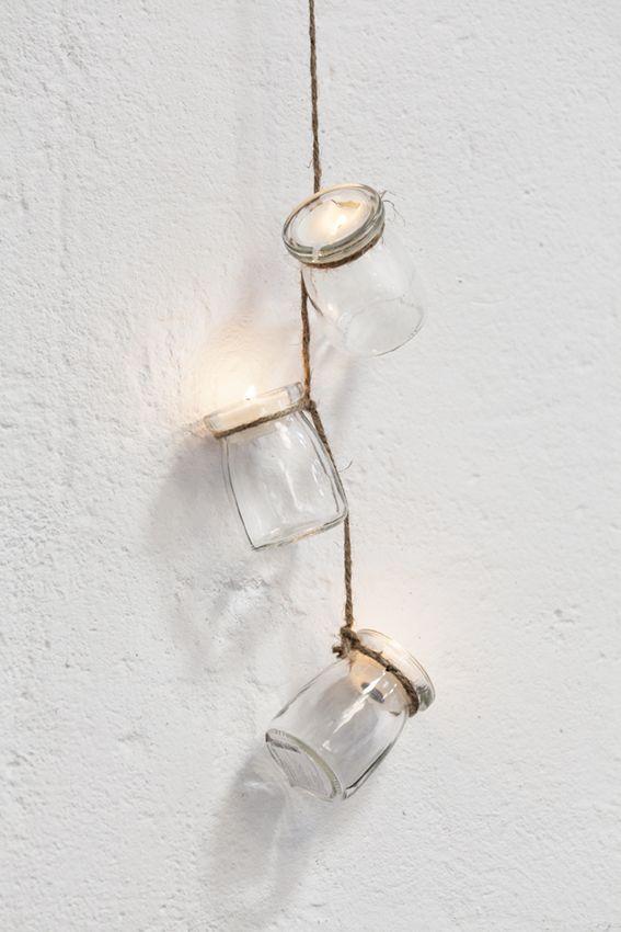 Detalles de cristal y cuerda que enamoran y brillan por si solos #muymucho #guirnalda #cristal #velas #cuerda #decoración #hogar