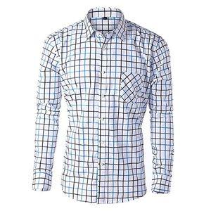 Camisa hombre manga larga,camisas hombre cuadros azul,camisa de hombre