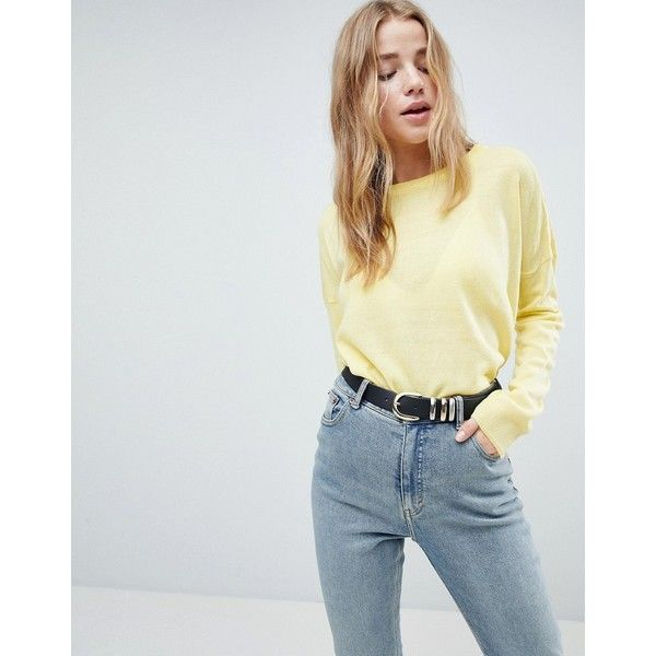 Brave Soul Pawsey Jumper With Wide Sleeves ($20) ❤ liked on Polyvore featuring tops, sweaters, yellow, yellow sweater, crew neck top, blue crewneck sweater, yellow jumper and blue crew neck sweater