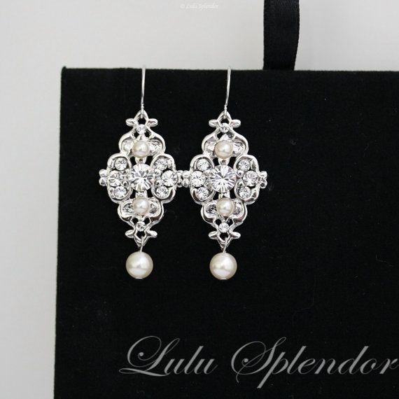 Da sposa orecchini Swarovski perle e strass da Damigella orecchini Vintage stile sposa orecchini da sposa gioielli MINI LEILA