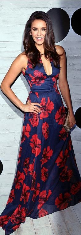 Nina Dobrev, wearing a Lela Rose dress, attends the go90 Sneak Peek held at the Wallis Annenberg Center for the Performing Art on Sept. 24, 2015, in Beverly Hills, California.