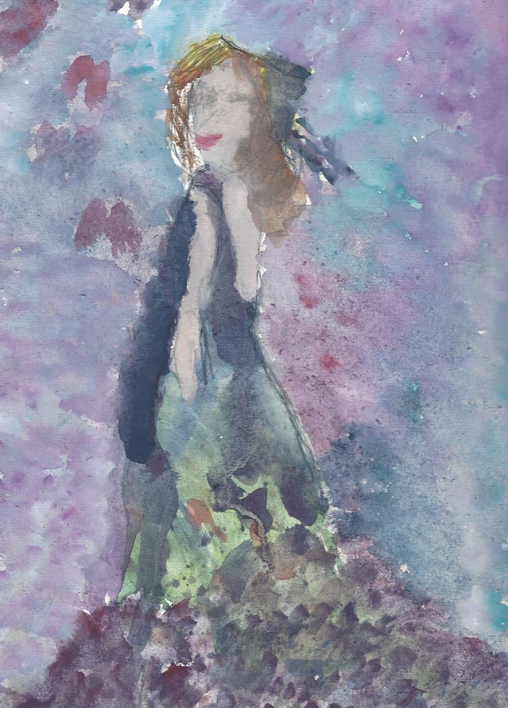"Enchanted Lady (c)2016 Deb Chilton  Watercolour on paper ""Beauty is only skin deep"" hair, makeup and a great dress can dazzle us all; Convincing the world we have it all together. The truth lies somewhere within our souls."