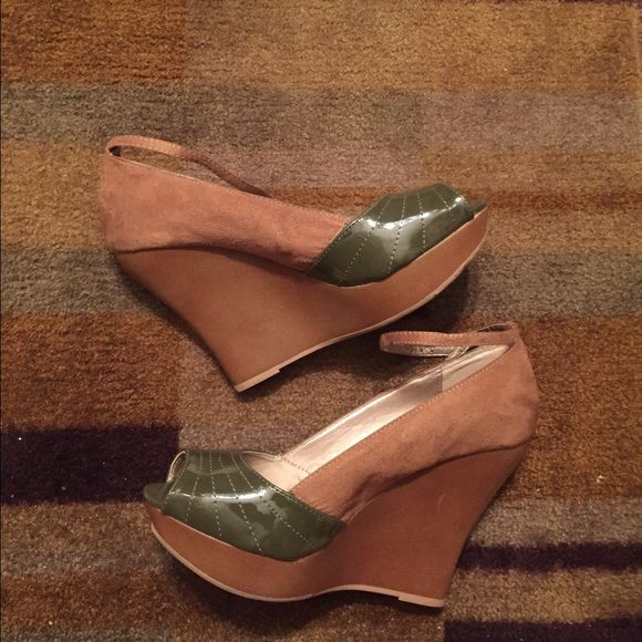 Qupid -tan suede/ olive green wedges w/ankle strap Qupid -tan suede and olive green patent wedges with ankle strap Qupid Shoes Wedges