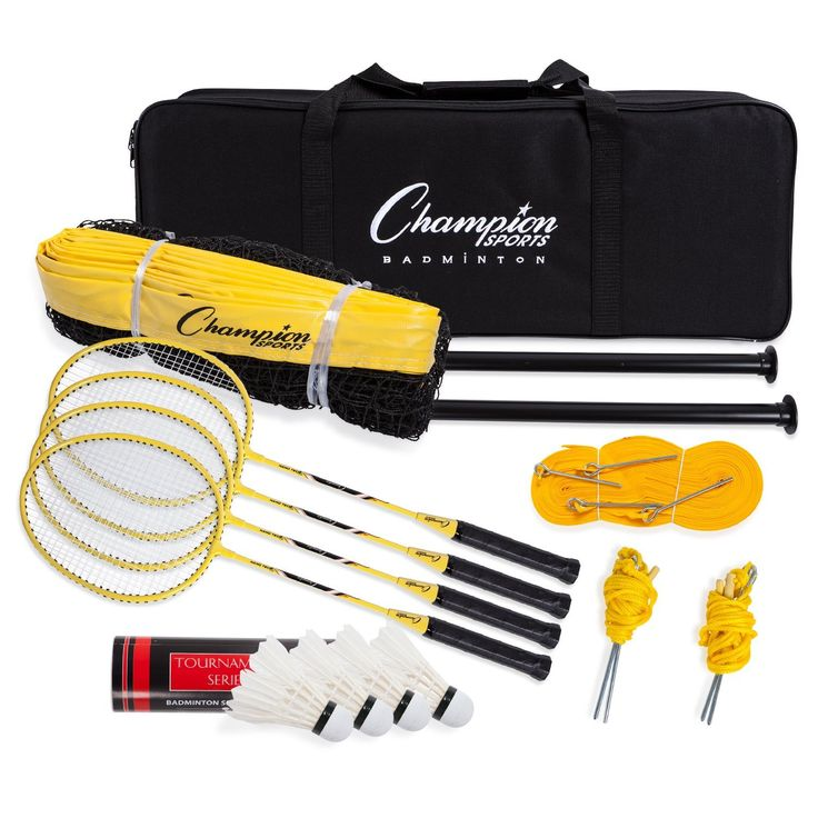 Champion Sports Outdoor Badminton Set: Net, Poles, 4 Rackets, 4 Shuttlecocks & Bag - Portable Equipment for Backyard Games, Team Sports, Adults & Kids. COMPLETE SET - Everything you need to play serious badminton games in the lawn or on the beach, including aluminum poles, a mesh net, aluminum racquets, birdies or shuttlecocks, and a carrying bag. HIGH QUALITY - Rugged outdoor sports equipment with heavy duty powder coated aluminum poles strong enough to endure the most intense smashes and…