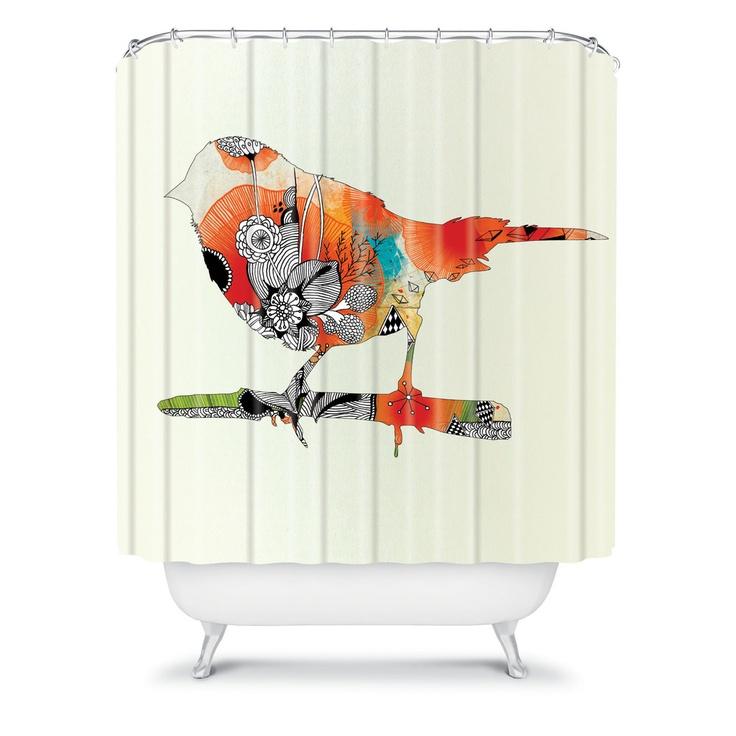 Iveta Abolina Little Bird Shower Curtain Bird Shower Curtain Duvet And Throw Pillows