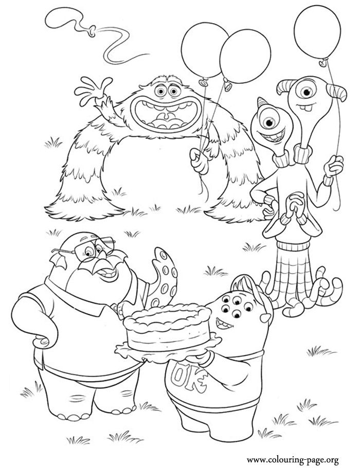 Look! It seems that Art, Don Carlton, Squishy and Terri and Terry are partying at the university. Have fun with this beautiful coloring sheet from Monsters University!