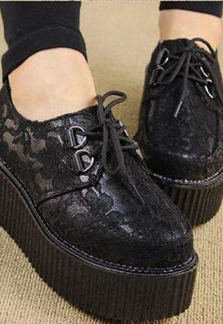 Black Lace Platform Shoes