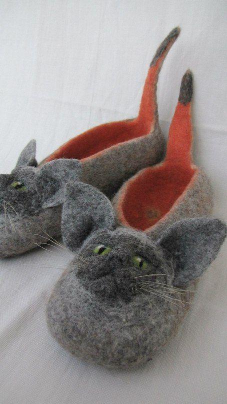 Felted slippers Mice тапки Апельсиновые коты валяние, шерсть кардочёс, фелтинг